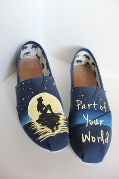 Custom Hand-Painted Disney Little Mermaid TOMS by AWalkInHerShoes Blue  Toms f0fe970ee