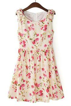 Bowknot Floral Sleeveless Dress - OASAP.com