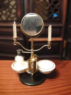 St Leger's Shaving Stand with a Pair of Candles, Bowl, Brass Cup & Pitcher-Brush  1:12 Scale