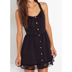 Lace Splicing Straps Single-Breasted Dress