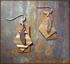Distressed Copper and Pleated Brass Feather by SnowPineDesign