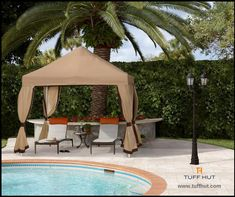 This Deluxe Tent from Fiberbuilt Umbrellas is a snap to setup and take down, as tools are not required. Tent is available in colors beige, forest green, natural, pacific blue. Shade Umbrellas, Tent Set Up, Garden Design, House Design, Ground Covering, Water Collection, Outdoor Living, Outdoor Decor, Garden Chairs