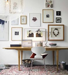 Modern Home Office Inspiration · Workspace Design · Creative Studio · Artist Desk · Gallery Wall Office Inspiration, Room Design, Interior, Interior Inspiration, Workspace Inspiration, Home Decor, House Interior, Home Deco, Interior Design