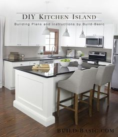 Build a DIY Kitchen Island ‹ Build Basic | This kitchen island is made from a surprisingly simple frame built around two stock cabinets, and can be sized to fit ANY base cabinets by changing only ONE measurement. When we started our kitchen remodel, this exact island was quoted to cost just over $4,000 (not including the countertop…yikes!). We built it for under $250 using only basic tools (i.e. drill, miter saw, circular saw, etc).