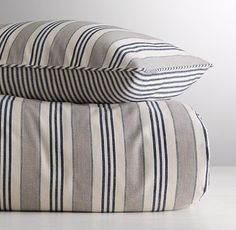 Vintage Ticking Stripe Duvet Cover $139 | RH Baby & Child