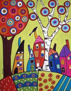 Bird Houses and a Swirl Tree painting by Karla Gerard Art Rupestre, Karla Gerard, Art Fantaisiste, Naive Art, Whimsical Art, Oeuvre D'art, Rock Art, Doodle Art, Painted Rocks