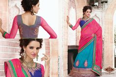 Party Wear Blue And Pink Lahenga Saree  #lehengasaree #lehengacholi