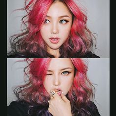 You'll find here pictures of ulzzang Park Hye Min Pony Makeup, Hair Makeup, Park Hye Min, Hair Inspo, Hair Inspiration, Ulzzang, Coloured Hair, Dye My Hair, Rainbow Hair