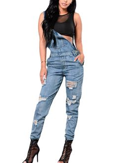 29750058999 Plus Size Ripped Denim Jumpsuit Women Winter Denim Overalls Pockets Button  Casual Dungarees Long Jeans Playsuit