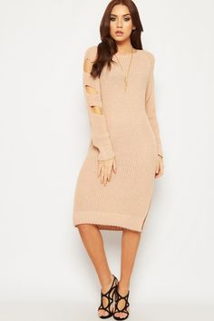 Bethanie Cold Shoulder Knitted Jumper Dress   WearAll