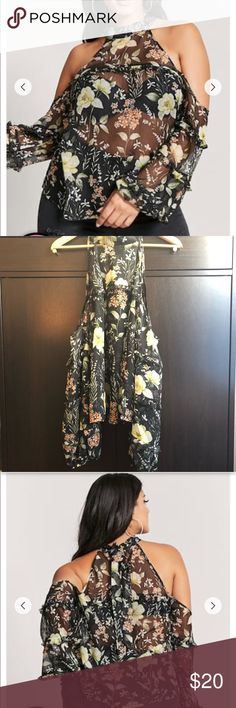 """🔴SALE🔴🌼 NWOT Plus Size Floral Open-Shoulder Top A Sheer Textured Woven Top Featuring An Allover Floral Print, Open-Shoulder Design, A Self-Tie Mock Neck, Long Puff Sleeves And A Ruffle Trim Throughout. Brand New (NWOT) And Never Worn. In Excellent Condition.  Content + Care ▪️100% Polyester ▪️Hand Wash Cold ▪️Made In China  Size + Fit ▪️Model Is 5'9.5"""" And Wearing A Size 1X ▪️Full Length: 25"""" ▪️Chest: 44"""" ▪️Waist: 46"""" ▪️Sleeve Length: 19"""" Forever 21 Tops"""