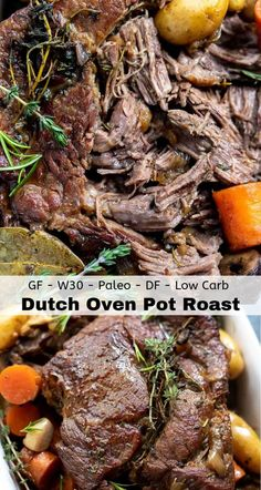 If you're going to make one last cold weather comfort food meal before Summer, this Braised Dutch Oven Pot Roast Recipe is it! Chuck Roast Dutch Oven, Roast Recipe Dutch Oven, Chuck Roast Recipe Oven, Dutch Oven Pot Roast, Chuck Roast Recipes, Easy Pot Roast, Beef Pot Roast, Pot Roast Recipes, Crockpot Recipes