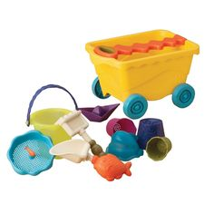Battat B.Wavey Wagon is packed with 10 sand toys, perfect for young kids to bring to the beach
