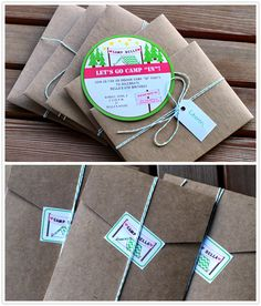 A few weeks ago, I showed you the invitation for my daughter's indoor camping party. Here they are again before they were sent out. The env...