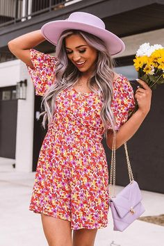 Cute Spring Outfits, Cute Outfits, Ruffled Bikini Top, Pink Yellow, Purple, Outfits With Hats, V Cuts, Floral Romper, High Waisted Shorts