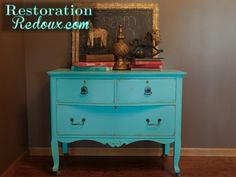Turquoise Chalkpainted Antique Dresser