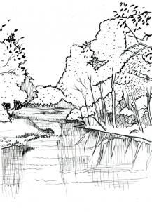 lake scene coloring pages - photo#24