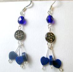 Cobalt blue and Lapis hearts dangle earrings heart by beadwizzard
