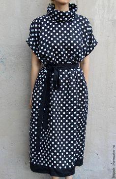 Linen polka dot dress / Платья ручной работы. Ярмарка Мастеров - ручная работа. Купить Льняное платье в горошек. Handmade. Черный, льняное платье