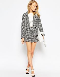 Image 4 of ASOS PETITE Blazer in Soft 70s Tile Print Co-ord