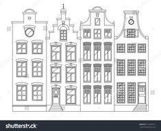 Traditional Amsterdam dutch style houses, European architecture, old town. Diy Christmas Village, Christmas Diy, Cardboard Gingerbread House, House Outline, House Colouring Pages, Amsterdam Houses, Travel Sketchbook, House Template, Dutch House