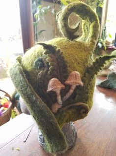wet Felted hat, mushrooms, fiddle head ferns, needle felted mushrooms, witch hat, faery hat