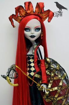Repaint Monster High custom doll Ghoulia Yelps Venice Carnival OOAK by Crow #Dolls