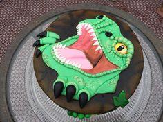 Trex birthday cake for Dawson. Dinosaur Birthday Cakes, Desserts, Food, Tailgate Desserts, Deserts, Meals, Dessert, Yemek, Eten