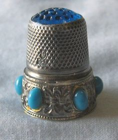 Sterling Silver Thimble Turquoise Glass