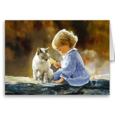 """Sweet Girl, Autumn Leaf, and Cat - Art Greeting Card - featuring a beautiful, lovely oil painting by Donald Zolan, titled """"Just We Two""""."""