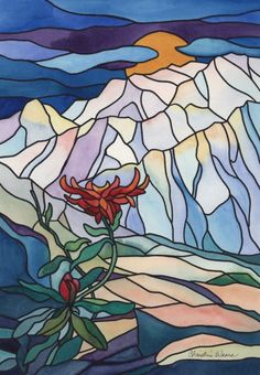 """Original watercolor painting titled """"The Seed Planted Grows"""" made to look like stained glass of a flower living in the desolate terrain of the mountains."""