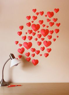 quick 3D heart on the wall for valentines @Af's 8/2/13