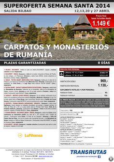 RUMANÍA: Cárpatos y monasterios ¡¡Superoferta Semana Santa: 12 a 27 abril!! sal. Bilbao ultimo minuto - http://zocotours.com/rumania-carpatos-y-monasterios-superoferta-semana-santa-12-a-27-abril-sal-bilbao-ultimo-minuto/