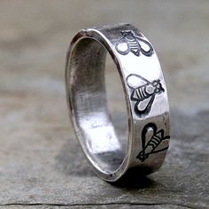 Bumblebee Band  Sterling Silver  Your Size by lovestrucksoul,