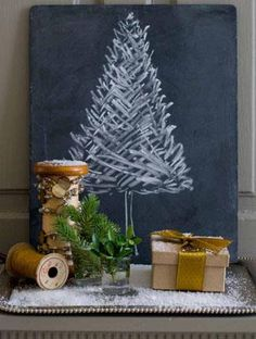 Love the chalkboard tree    painted a thrifted canvas paint it black and paint the tree  I think I can