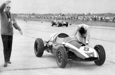Jack Brabham on his way to winning the driver's championship at the 1959 US Grand Prix at Sebring, Florida    On the last lap, as his team waited for him to appear and take the checkered flag, Brabham rolled to a halt in sight of the line on the uphill front straight. He had refused to follow Team Manager Cooper's exhortations to start the race on full tanks, hoping instead to find more speed from a lighter car. McLaren, surprised to see Brabham slowing, lifted his foot and slowed as well…