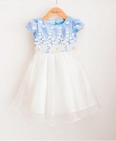 Vestido de Festa Infantil em Organza e Cetim Azul
