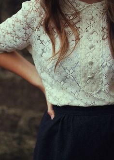 white, lace, navy