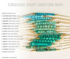 1 blue turquoise - Turquoise Stones on Delicate Chain. The Gemstone Bar can be customized with your favorite type/shade of turquoise! This dainty piece can be made
