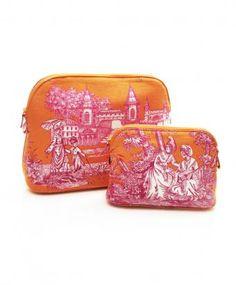 pink + orange chinoiserie makeup bags