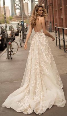 7d927b061ba3 lace appliques beaded wedding dresses 2017 berta bridal haspaghetti deep  plunging v neck short train modify A-line wedding gowns