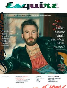 Chris Evans covers the April/May 2020 issue of Esquire magazine. Making quite the style statement, Evans sports a leather Valentino jacket with a Missoni shirt. Chris Evans, Robert Evans, Mad Love, The Americans, Nurse Jackie, Ray Donovan, It Crowd, Alex Pettyfer, Hemlock Grove