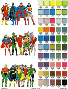 The colors of DC in 1982. Pretty good mix of spandex tones here, but a lousy mix of skin tones… Where my brown people?! Where my green people?!