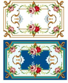 Pretty design for a cushion cover, rug, or doll house miniature carpet. Charted from an old hand painted chart. 125 x 76 stitches x 8 cm on 14 ct Cross Stitch Rose, Cross Stitch Borders, Cross Stitch Flowers, Cross Stitch Charts, Cross Stitching, Cross Stitch Patterns, Paint Charts, Intarsia Knitting, Red And Pink Roses