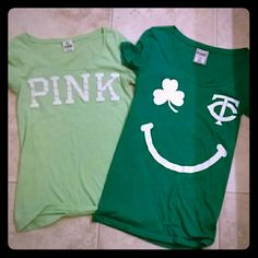 "Bundle of 2 VS PINK tees! Bundle of 2 super comfy tees from PINK by Victoria's Secret. Darker green shirt has ""twins good luck charm"" on back. Nothing on back of lighter colored shirt. Both are used and have some very light piling (tried to show in photo 3, but it's really barely even noticeable.) Otherwise, good condition. PINK Victoria's Secret Tops Tees - Short Sleeve"