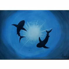 Painting Acrylic Ideas Canvases Mobiles 46 Ideas For 2019 Acrylic Painting Canvas, Abstract Canvas, Diy Painting, Canvas Art, Shark Painting, Canvas Mobile, Shark Art, Seashell Art, Aboriginal Art