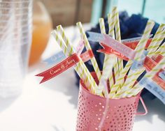 Pinwheel straws with drink labels are a fun way to keep things organized!