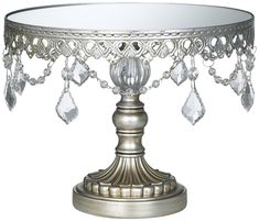 AmazonSmile: Antique Silver Beaded Small Cake Stand: Home & Kitchen