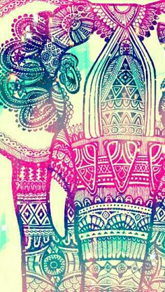 Elephant pink tribal