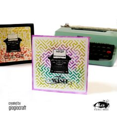 This brilliant card by Giogiocraft was created with the typewriter stamp from our 'One Kind Word' set with our 'Geometric Maze' stencil. Image Stamp, Small Words, Tiny Heart, You're Awesome, Kind Words, Make A Wish, Typewriter, Greeting Cards Handmade, Say Hello